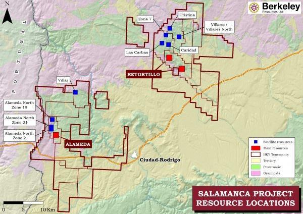 Mapa de las explotaciones de Retortilo-Santidad y Alameda, tal como ha sido concebido por la minera Berkeley