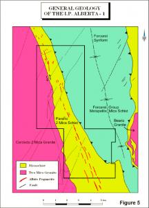 Mapa xeolóxico dun dos proxectos de Solid Resources